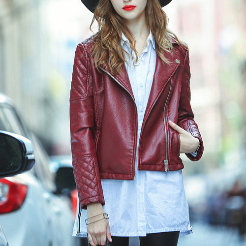 Fashion High Quality Wine Red Lapel Faux Leather Short Jacket