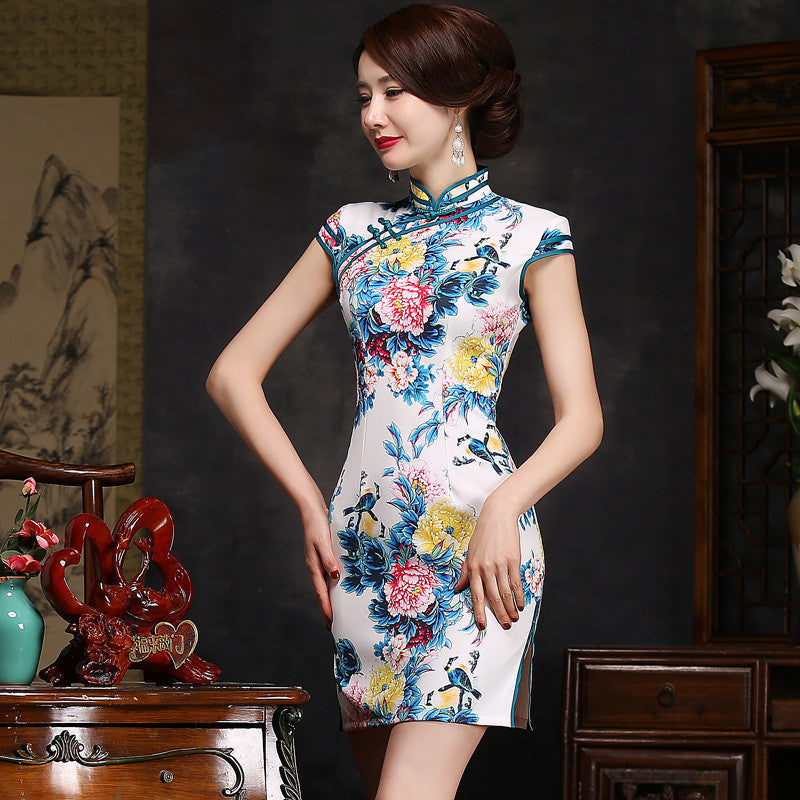 Stylish Flowers Printed Daily Short Cheongsam Dress
