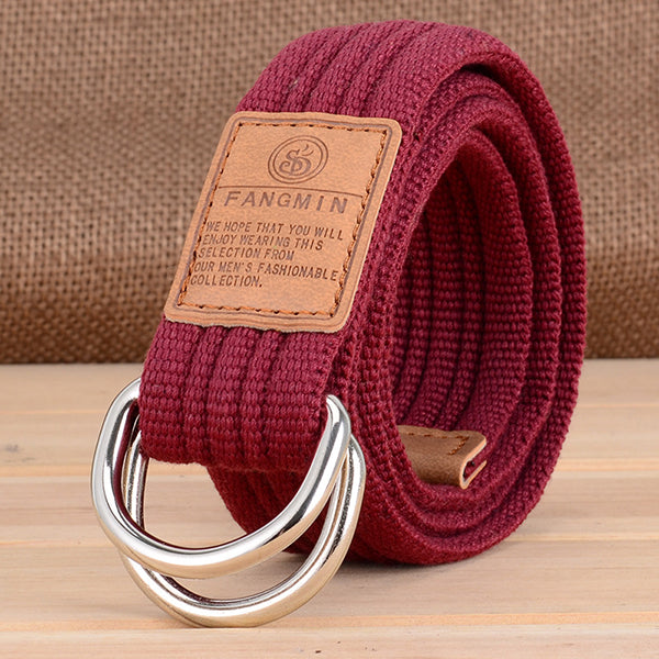 Casual Canvas Double Buckle Woven Belt - KINGEOUS