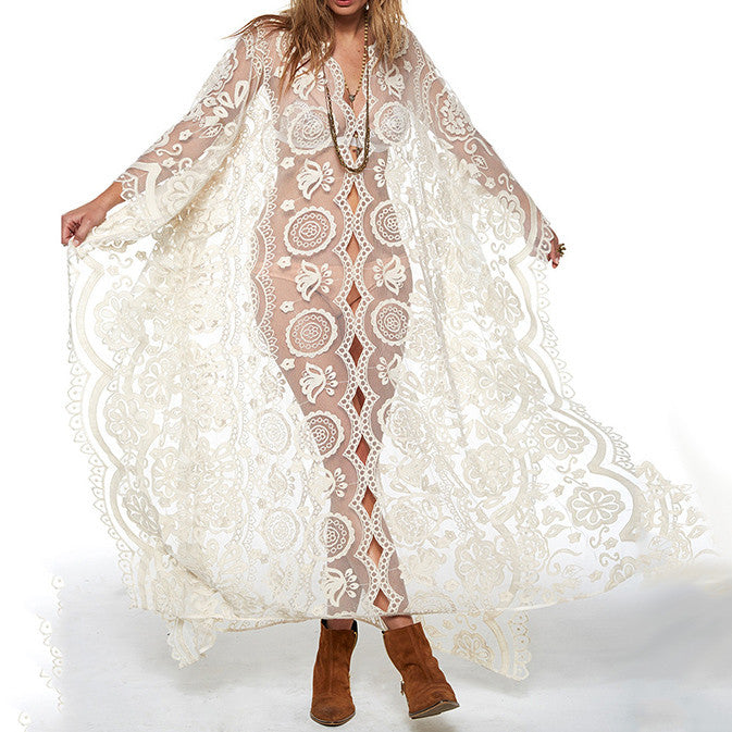 Handmade Hollow Lace V-nack Loose Maxi Dress - KINGEOUS