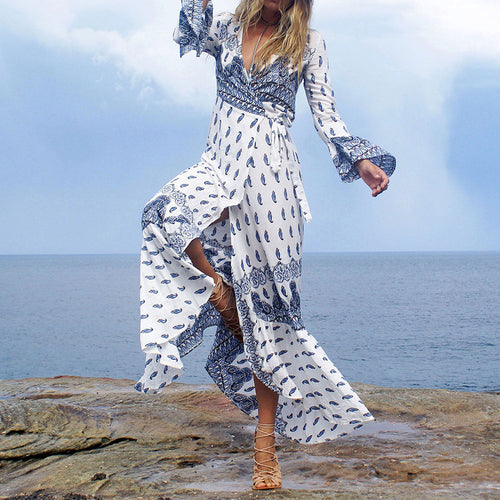 Trumpet Sleeve Blue Pattern Printed Boho Beach Maxi Dress