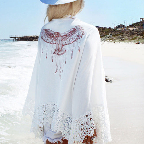 Hollow Lace White Loose Beach Cardigan - KINGEOUS