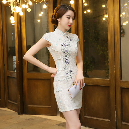 White Lace Embroidery Band Collar Cotton Short Cheongsam