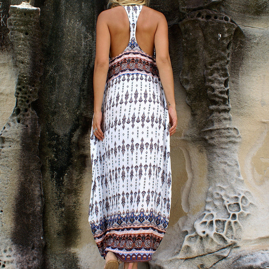 Printed Loose Bohemian Pattern Beach Dress White - KINGEOUS