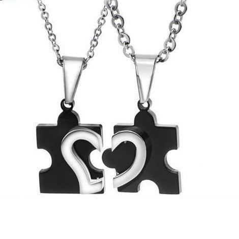 Heart Jigsaw Pieces Shape Stainless Steel Couple Necklaces - KINGEOUS
