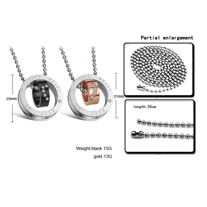 Keep Me in Your Heart CZ Inalid Stainless Steel Couple Necklaces - KINGEOUS