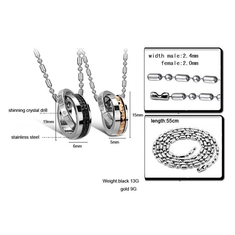 Fashion Circles Shape Stainless Steel Plating Couple Necklaces - KINGEOUS