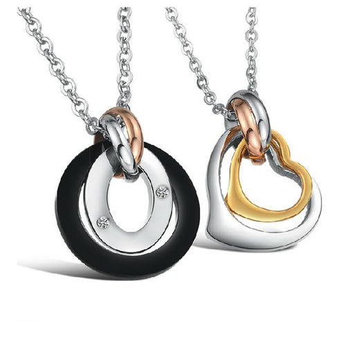 Charming Cricles and Heart Shape Stainless Steel Couple Necklaces - KINGEOUS