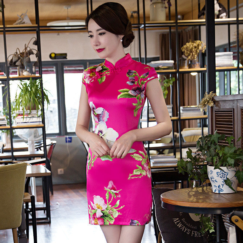 Flowers Printed Slim Cape Sleeve Silk Rose Short Cheongsam - KINGEOUS