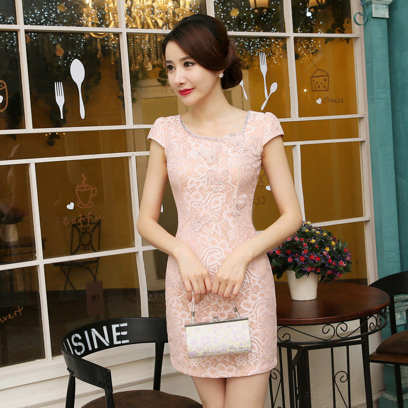 Pure Color Lace Band Collar Spandex Short Cheongsam(2 Colors) - KINGEOUS