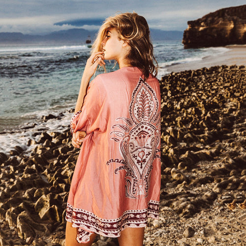 Boho Printed Polyester Beach Long Cardigan Women's Top - KINGEOUS