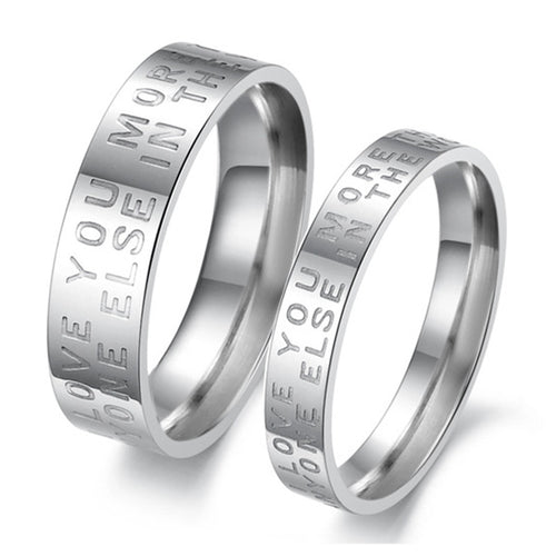 Love Words Plating Stainless Steel Couple Rings