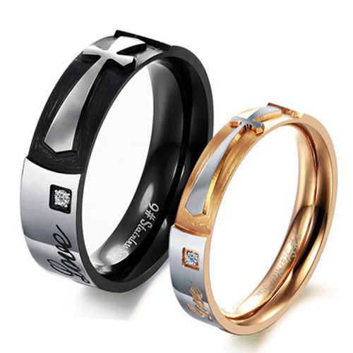 Cross Shape Love CZ Inlaid Stainless Steel Couple Rings - KINGEOUS