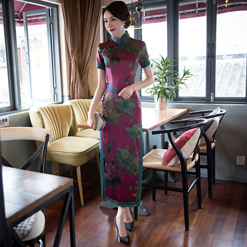 High Quality Printed Slim Band Collar Short Sleeve Silk Long Cheongsam - KINGEOUS