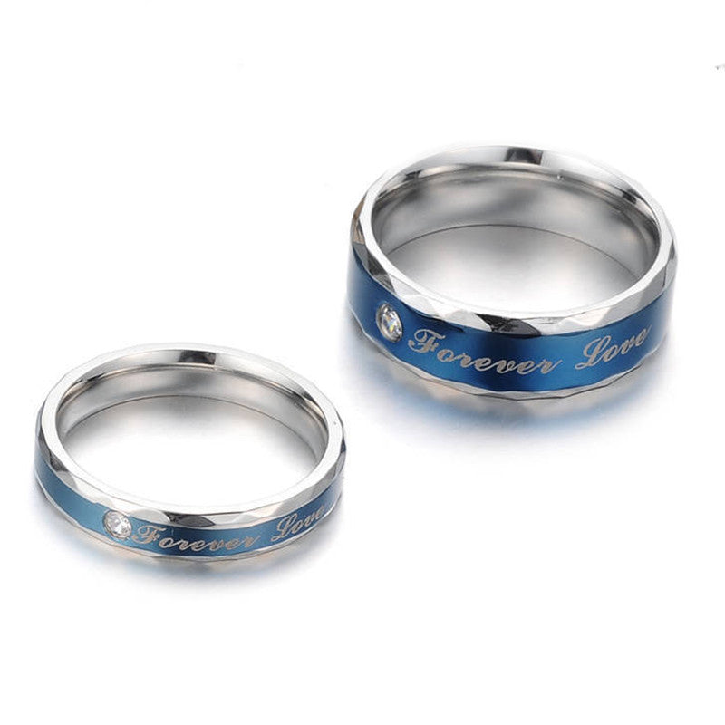 Forever Love CZ Inlaid Stainless Steel Couple Rings - KINGEOUS