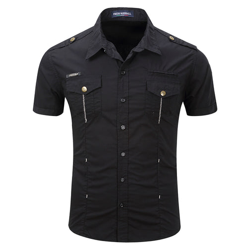 Military Style Lapel Pocket Button Design Men's Shirt