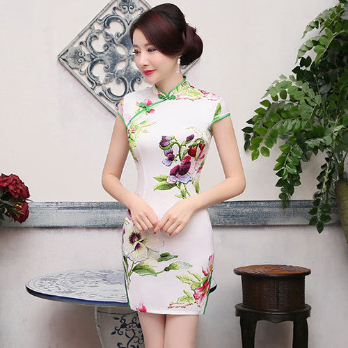 Wonderful Flowers Printed Slim Cape Sleeve Silk Short Cheongsam