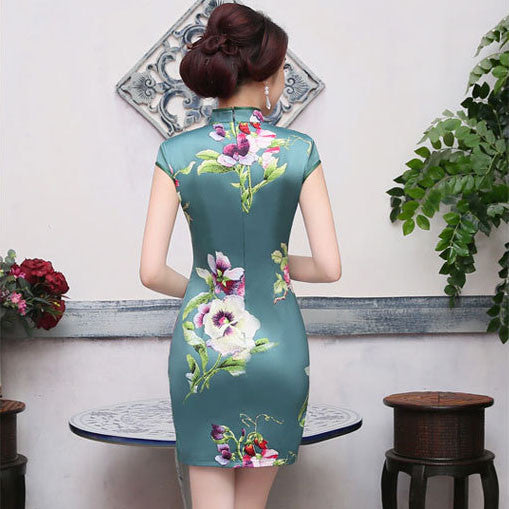 Flowers Printed Slim Cape Sleeve Silk Green Short Cheongsam - KINGEOUS