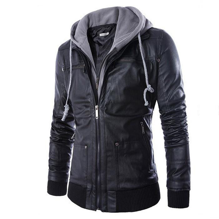 Fashionable Slim Hooded Motorcycle Men's Leather  Coat