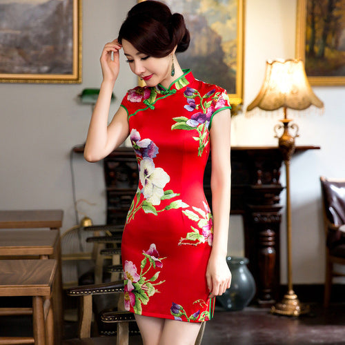 Flowers Printed Slim Cape Sleeve Silk Red Short Cheongsam - KINGEOUS