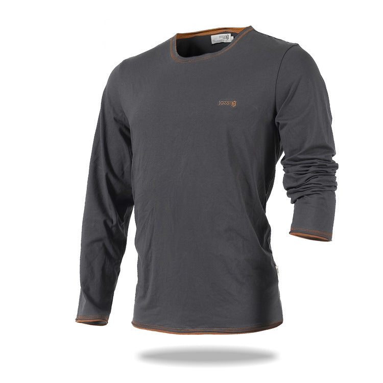 Round Neck Cotton Loose Long Sleeve Men's T-shirt