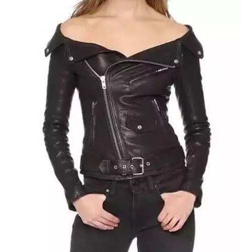 Cool Boat Collar Slim Zipper Long Sleeve Faux Leather Jacket - KINGEOUS