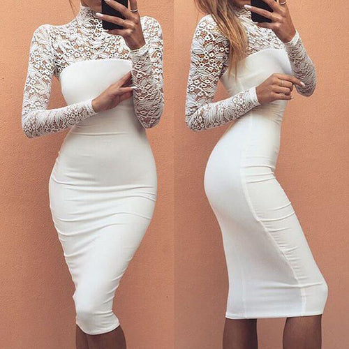 Hollow Lace Sexy Slim Long Sleeve Women's Dress