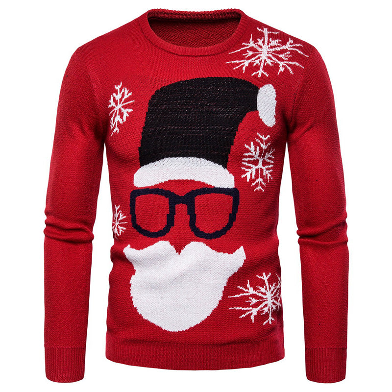 Leisure Santa Claus Printed Men's Bottoming Shirt
