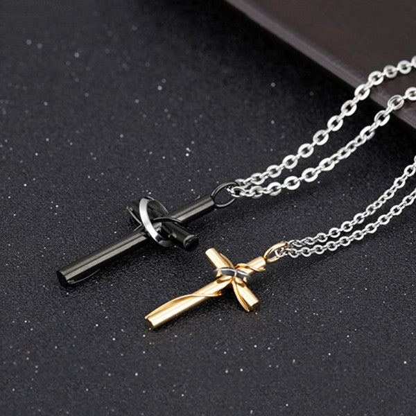 Classical Cross Shape Stainless Steel Couple Necklaces - KINGEOUS