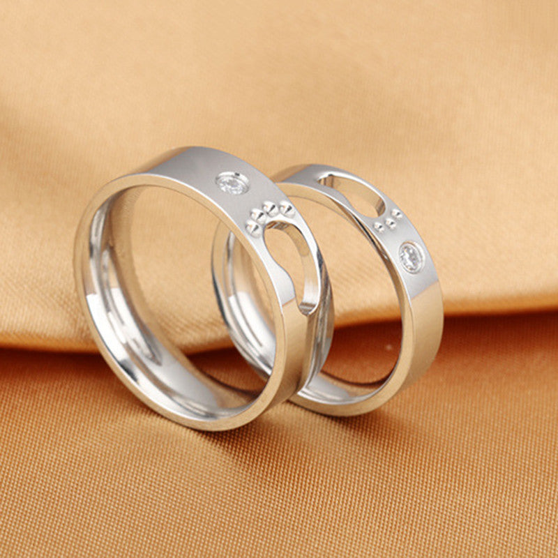 Hollow Footprints CZ Inlaid Stainless Steel Couple Rings - KINGEOUS