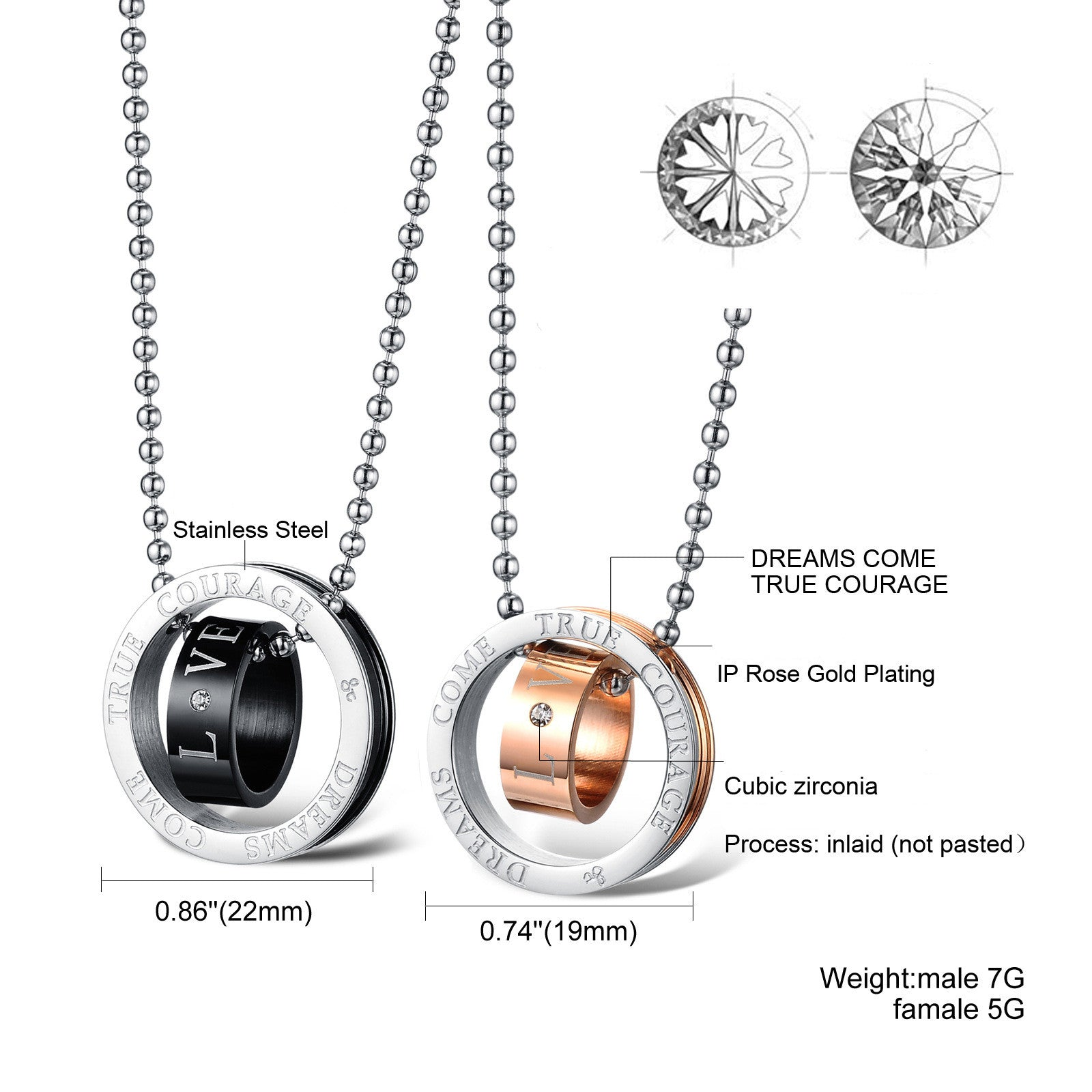 Love Double Rings Stainless Steel Couple Necklaces - KINGEOUS