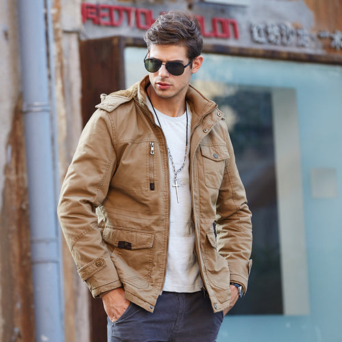 Casual Keep Warm Men's Flight Thickness Overcoat - KINGEOUS