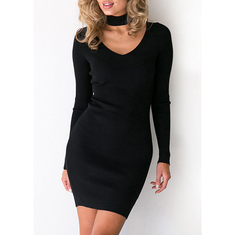 Slim Solid Color V-neck Long Sleeve Knit Short Dress