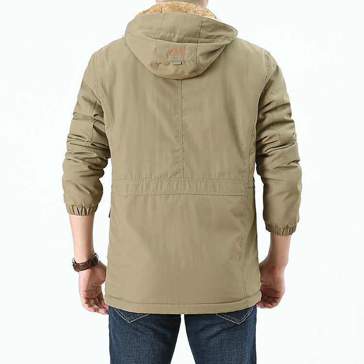 Waterproof Breathable Warm Hooded Stand Collar Men's Jacket
