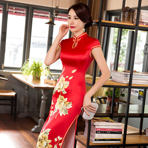 Charming Golden Flowers Printed Band Collar Long Cheongsam(2 Colors) - KINGEOUS