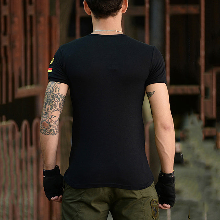 Casual Cotton Embroidery Round Neck Elasticity Men T-shirt - KINGEOUS