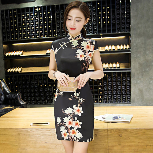 Tradition Flowers Printed Slim Silk Black Short Cheongsam