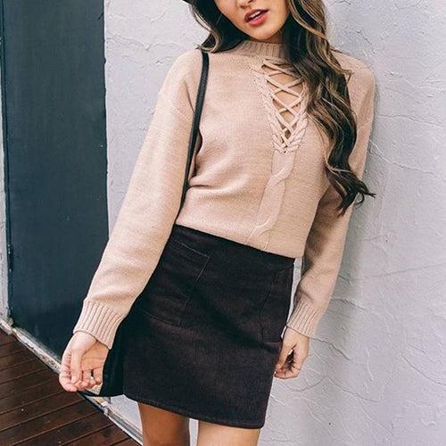 Hollow Bandage Knit Long Sleeve Women's Sweater