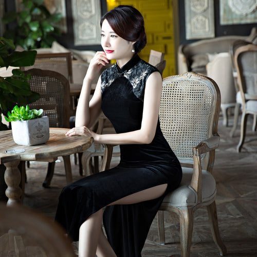 Black Embroidery Lace Band Collar Sleeveless Long Cheongsam - KINGEOUS