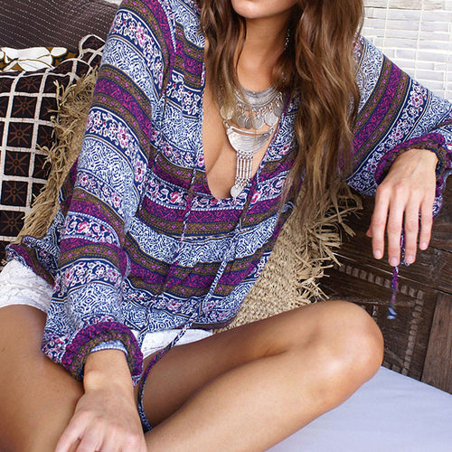 Charming Printed Boho Beach Loose Blouse(4 Colors) - KINGEOUS