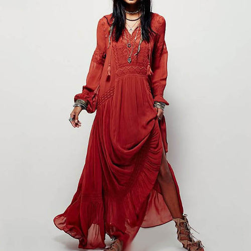 Solid Color V-neck Embroidery Boho Maxi Dress(2 Colors) - KINGEOUS