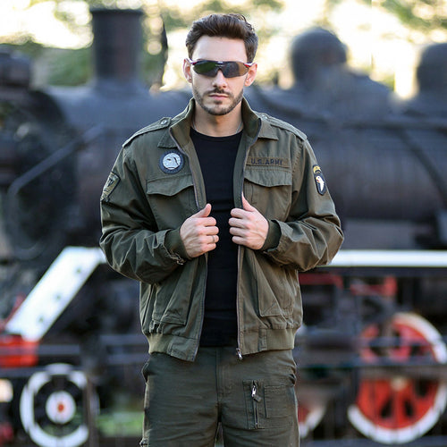 Army Style Slim Outdoor Pure Cotton Flight Men Jacket - KINGEOUS