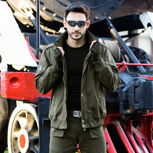 Army Green Outdoor Pure Cotton Flight Men Jacket - KINGEOUS