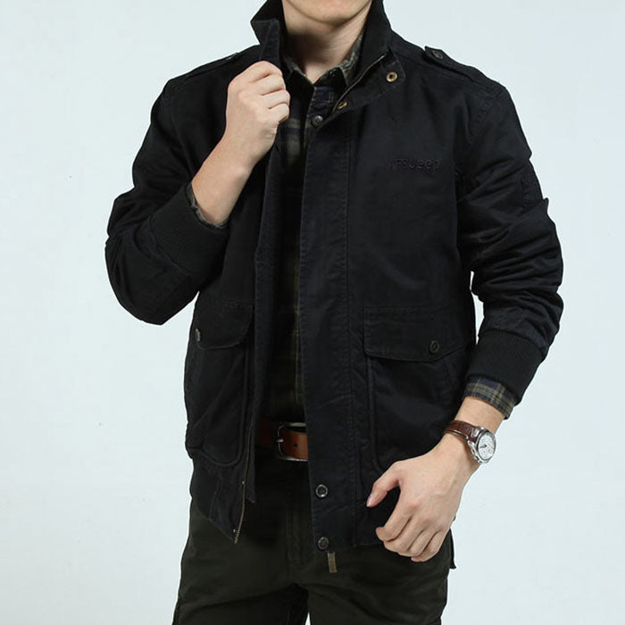 Casual Stand Collar Plus Size Men Jacket - KINGEOUS