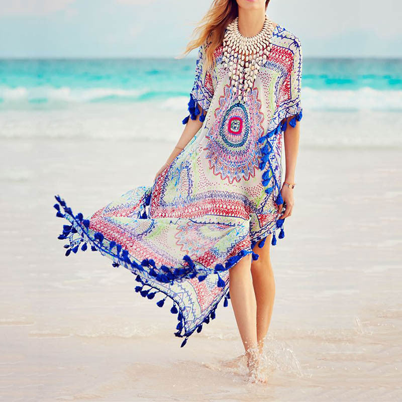 Amazing Printed V-nack Tassel Beach Maxi Dress - KINGEOUS