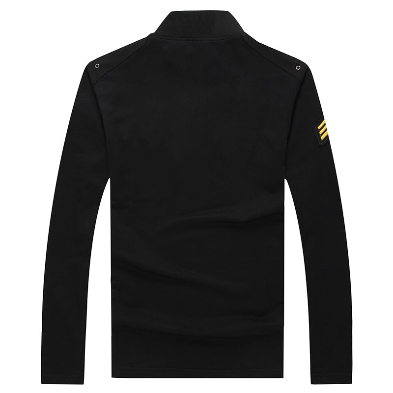Airborne Series Lapel Cotton Lapel Long Sleeve Men's T-shirt - KINGEOUS