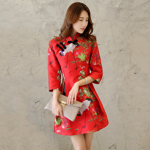 Charming Crane Embroidery Band Collar Short Cheongsam(3 Colors) - KINGEOUS