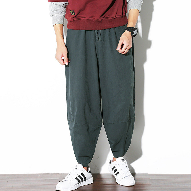 Cotton Solid Color Linen Casual Harlan Men Pants