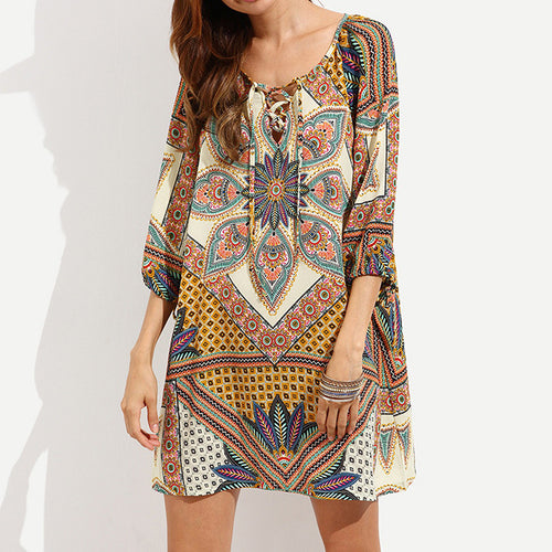 Printed Loose Bohemian Pattern Beach Dress Soft Fit - KINGEOUS