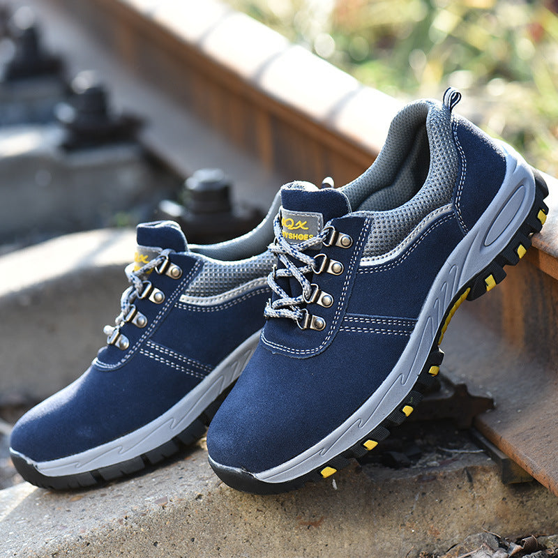 Antiskid Safety Shoes for Men, Fashion Suede Steel Toe Work Shoes Boot - KINGEOUS
